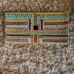 French Connection beaded clutch